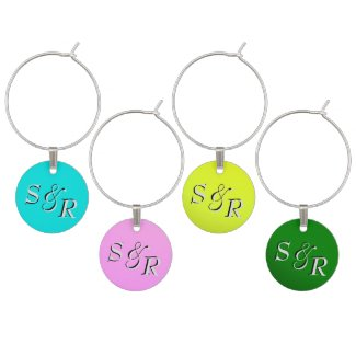 Rainbow of Colors Wine Tags Wine Glass Charms