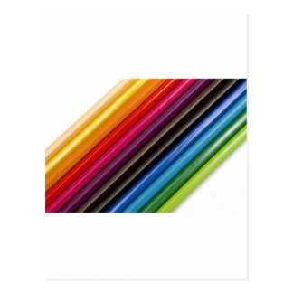 Rainbow of coloured pencils postcard