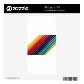 Rainbow of coloured pencils iPhone 4S decals