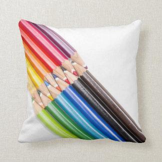 Rainbow of colouring pencils throw pillow