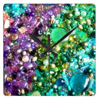 Rainbow of Craft Beads Square Wallclocks