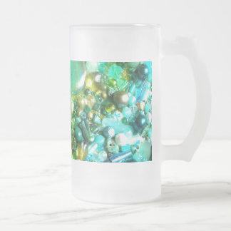 Rainbow of Craft Beads Frosted Glass Mug
