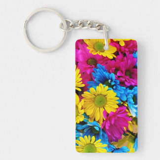Rainbow of Daisies Keychain