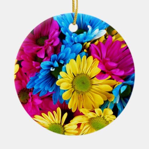 Rainbow of Daisies Ornaments
