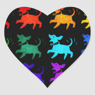 Rainbow Of Dogs Heart Sticker