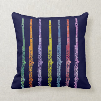 Rainbow of Flutes Throw Pillow