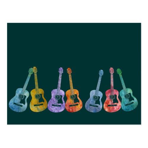 Rainbow of Guitars Postcard