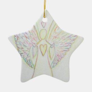 Rainbow of Hearts Art Holiday Ornament