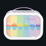 """Rainbow of Ombr&#233; Cupcakes Personalized Lunch Box<br><div class=""""desc"""">A colorful array of cupcakes with ombre frosting and room for personalization makes for a unique and envious lunchbox.  Original artwork by Night Owl&#39;s Menagerie,  c. 2013.</div>"""