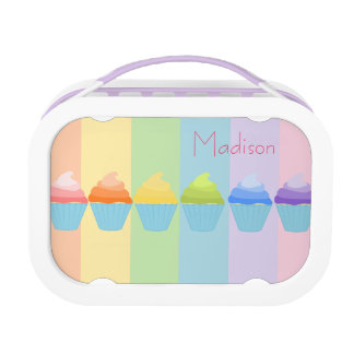 Rainbow of Ombré Cupcakes Personalized Lunch Box