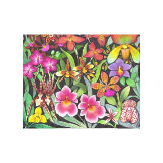 Rainbow of Orchids Wrapped Canvas