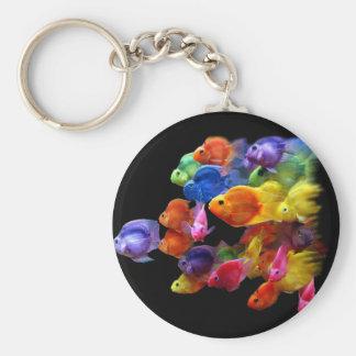 Rainbow of Parrotfish Basic Round Button Keychain