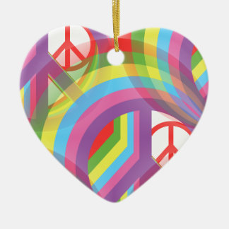 Rainbow of Peace - front and back Ceramic Ornament