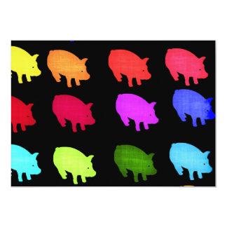 Rainbow Of Piggies 5x7 Paper Invitation Card