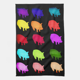 Rainbow Of Piggies Hand Towels
