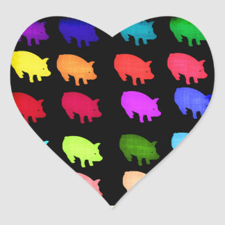 Rainbow Of Piggies Heart Sticker