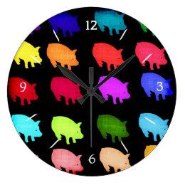 Rainbow Of Piggies Large Clock