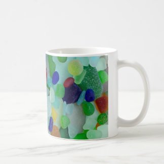 Rainbow of sea glass, beach glass mug