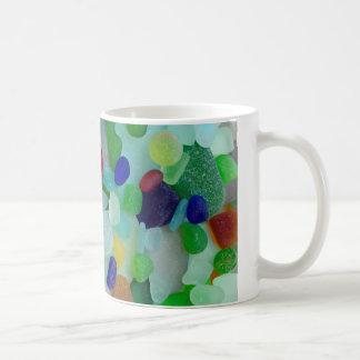 Rainbow of sea glass, beach glass mug