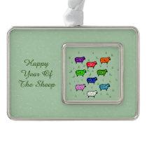 Rainbow Of Sheep Christmas Ornament