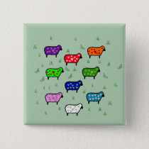 Rainbow Of Sheep Pinback Button