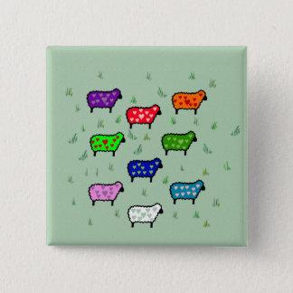 Rainbow Of Sheep Pinback Button