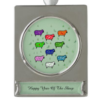 Rainbow Of Sheep Silver Plated Banner Ornament