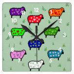 Rainbow Of Sheep Square Wall Clocks