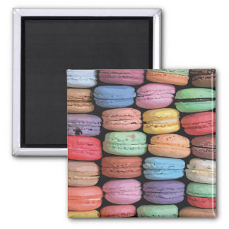 Rainbow of Stacked French Macaron Cookies 2 Inch Square Magnet