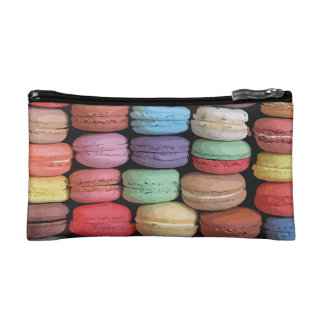 Rainbow of Stacked French Macaron Cookies Makeup Bag