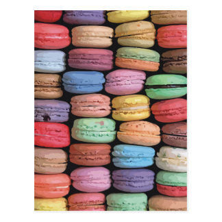 Rainbow of Stacked French Macaron Cookies Postcard
