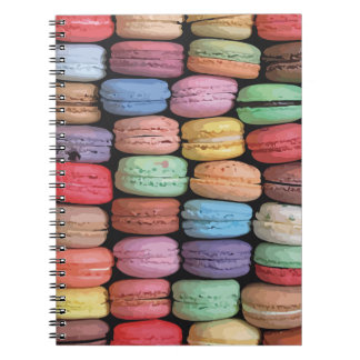 Rainbow of Stacked French Macaron Cookies Spiral Notebook