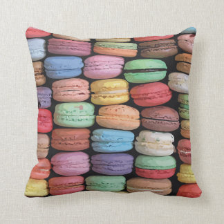 Rainbow of Stacked French Macaron Cookies Throw Pillow