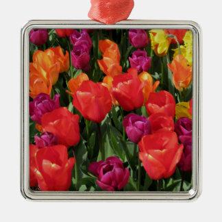 Rainbow Of Tulips Metal Ornament