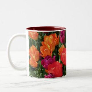 Rainbow Of Tulips Two-Tone Coffee Mug