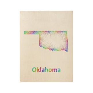 Rainbow Oklahoma map Wood Poster