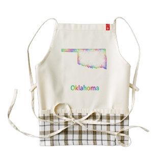 Rainbow Oklahoma map Zazzle HEART Apron
