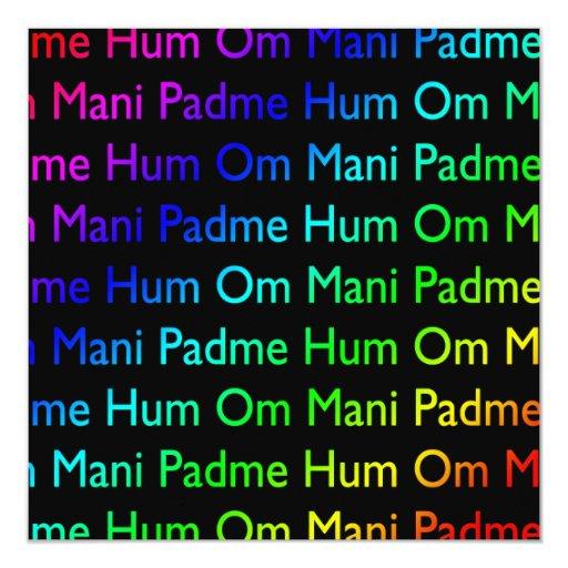 Rainbow Om Mani Padme Hum on Black Invitation