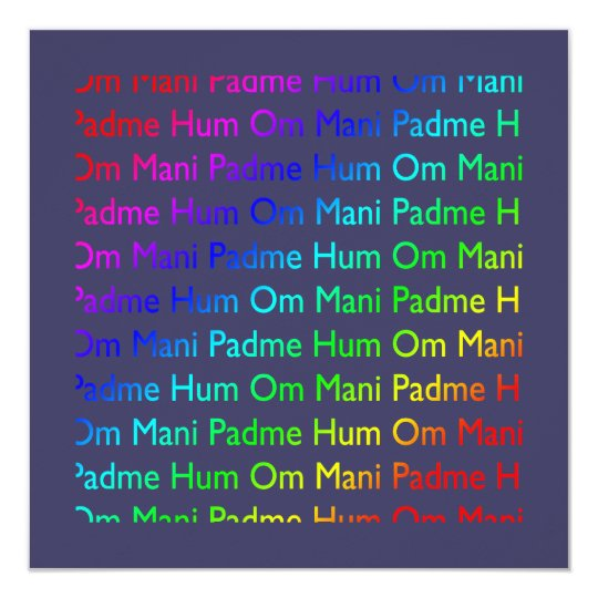 Rainbow Om Mani Padme Hum on Purple Invitation