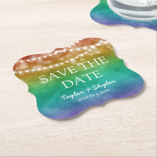 Rainbow Ombre  Gay Wedding Save the Date Paper Coaster