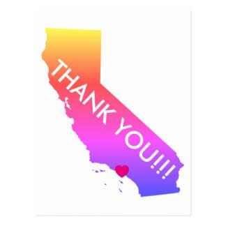 Rainbow Ombre Los Angeles California Thank You Postcard