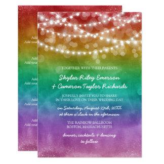 Rainbow Ombre String Lights Details Gay Wedding Invitation