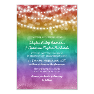 Rainbow Ombre String Lights Gay Wedding Card
