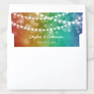 Rainbow Ombre String Lights Gay Wedding Envelope Liner
