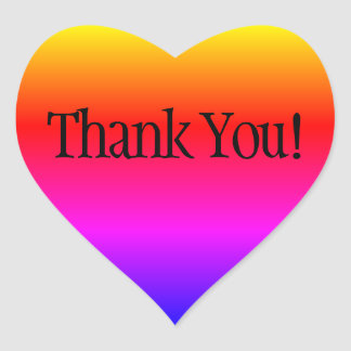 Rainbow Ombre Thank You Heart Sticker