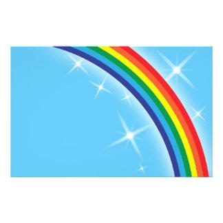 Rainbow on a blue sky background flyer