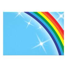 Rainbow on a blue sky background custom invitations