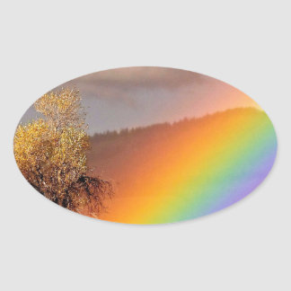 RAINBOW ON A COUNTRY ROAD WITH TREE OVAL STICKER