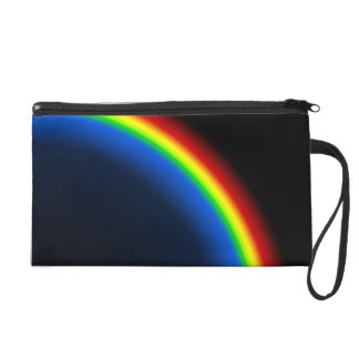 Rainbow on black wristlet clutch