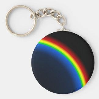 Rainbow on black basic round button keychain